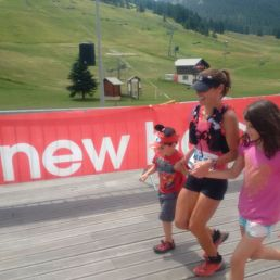 Crossing finish line with my kids